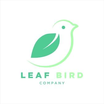 Modello di contorno di arte di linea di icone di vettore di logo di uccelli e foglie