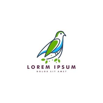 Modello di uccello foglia logo vettoriale icona download linea mono linea colore contorno arte