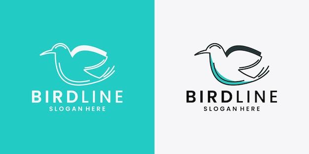 Vettore di disegno del logo della linea di uccelli