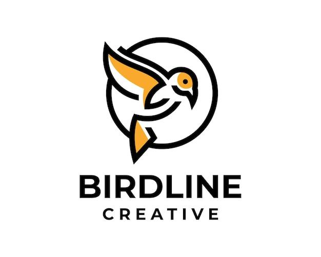 Modello di logo elegante moderno di linea di uccelli