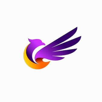 Design del logo dell'uccello con concetto astratto