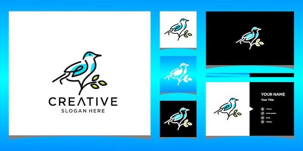 Design del logo dell'uccello con modello di biglietto da visita
