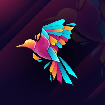 Bird logo illustrazione toro gradiente stile colorato