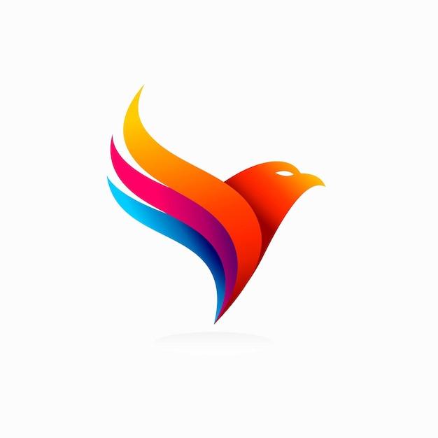 Logo dell'uccello con concetto colorato