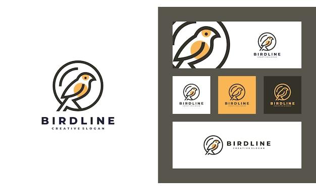 Modello di progettazione di logo semplice creativo minimalista di uccello