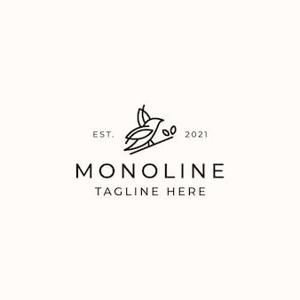 Modello di logo di concetto di monolinea di uccello isolato in sfondo bianco