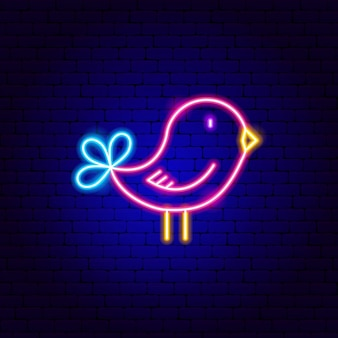 Insegna al neon dell'uccello. illustrazione vettoriale di promozione animale.