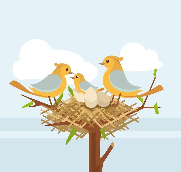 Nido di uccelli sul ramo di un albero con la famiglia di uccelli, illustrazione piatta