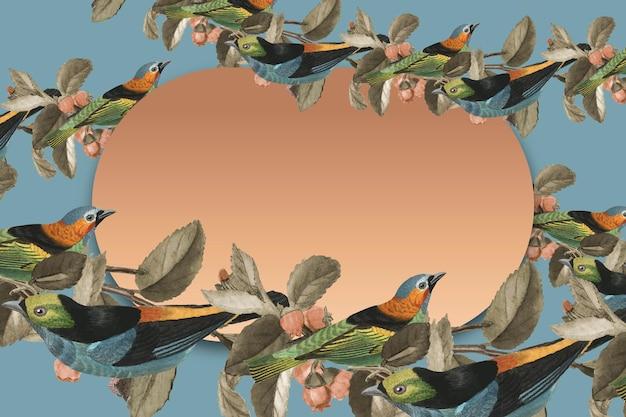 Cornice dorata di vettore del bordo del modello dell'uccello con lo spazio di progettazione