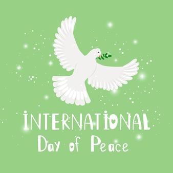 Uccello della pace. simbolo di natale o matrimonio, piccione di speranza con ramo d'ulivo, concetto di illustrazione vettoriale della giornata internazionale della pace