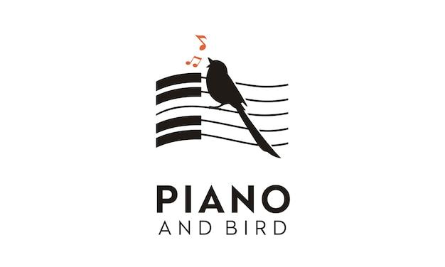 Disegno del logo di uccello e pianoforte Vettore Premium