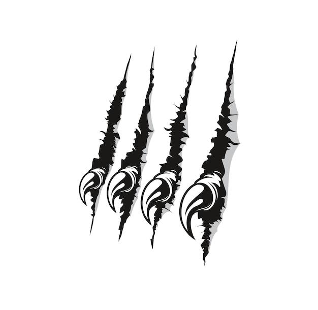 L'artiglio dell'uccello rapace segna il fondo di vettore dei graffi. animale predatore, bestia selvaggia pericolosa o mostro misterioso che sfonda un foglio di carta bianca, graffia e fa a pezzi il muro con artigli affilati