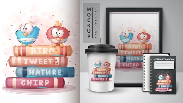 L'uccello legge poster e merchandising di libri. vettore eps 10