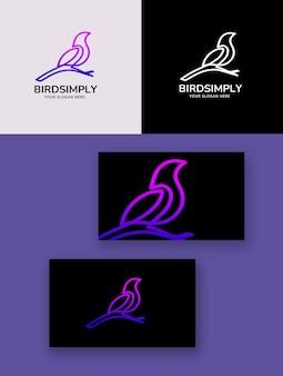 Uccello semplicemente logo monolinea