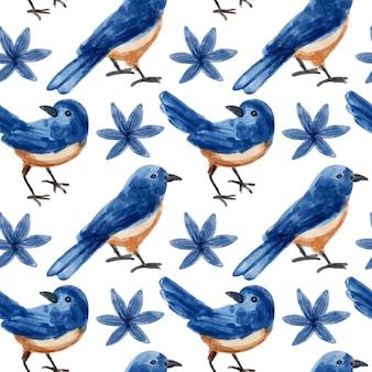 Modello senza cuciture dell'acquerello dell'uccello