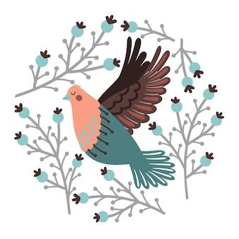 Insieme di uccelli e bacche invernali. uccello carino disegnato a mano ed elementi della foresta, illustrazione vettoriale di rami intorno a uccelli volanti con ali isolate su sfondo bianco
