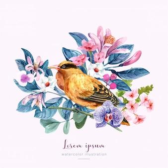 Uccello con fiori illustrazione