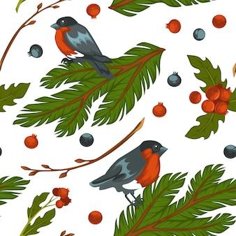 Birdie seduto su un ramoscello di abete sempreverde, motivo senza cuciture di ciuffolotto con bacche e rami di pino. simboli della stagione invernale, foglie di vischio e fogliame decorativo. vettore in stile piatto