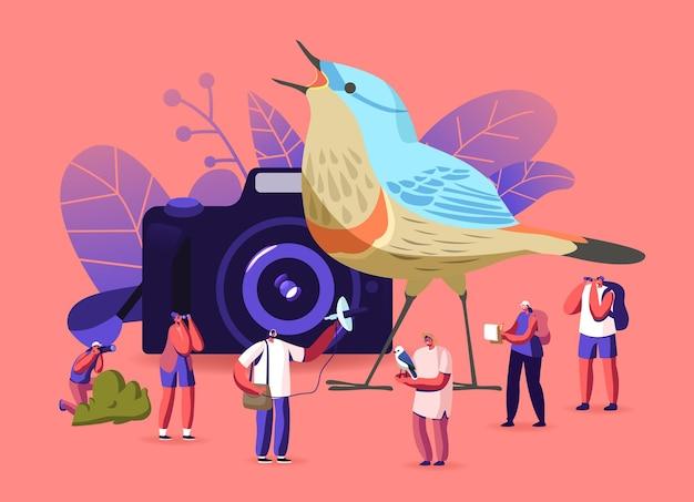 Birding, concetto di ornitologia. gli ornitologi raggruppano i personaggi usando binocoli, macchine fotografiche e attrezzature speciali per osservare gli uccelli. osservazione negli habitat naturali hobby. cartoon persone illustrazione vettoriale