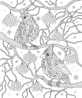 Disegno di uccelli e bacche da colorare cardinali del nord