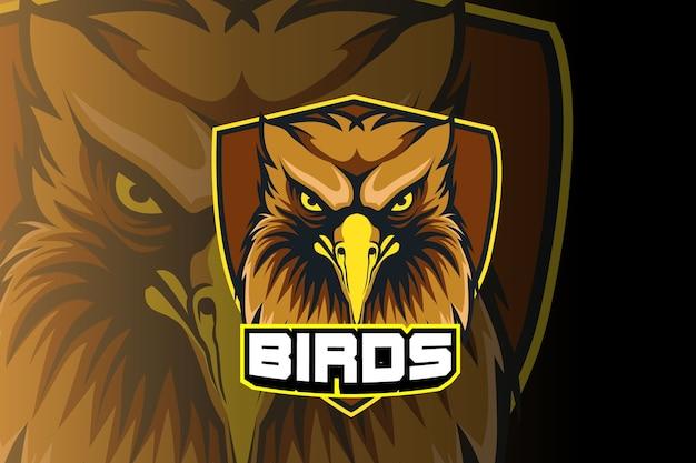 Modello di logo della squadra di e-sports testa di uccelli