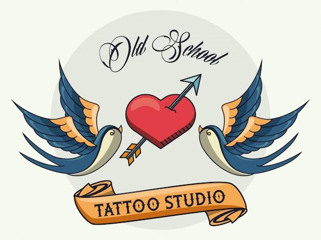 Logo studio tatuaggio uccelli e cuore