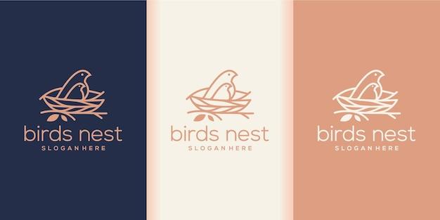 Combinazione di logo di nidi di uccelli