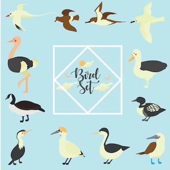Gli uccelli hanno messo l'illustrazione della raccolta isolata su fondo blu