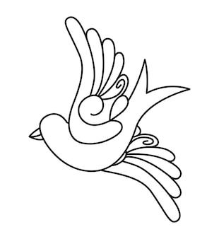 Disegno dell'icona isolato tatuaggio uccelli