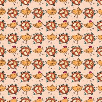 Uccelli con uova nel nido. seamless pattern