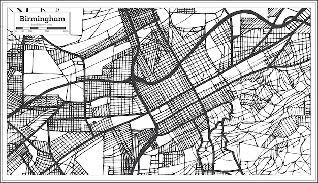 Mappa della città di birmingham alabama usa in stile retrò. mappa di contorno.
