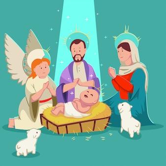 Nascita gesù bambino presepe. illustrazione di cartone animato carino vettoriale