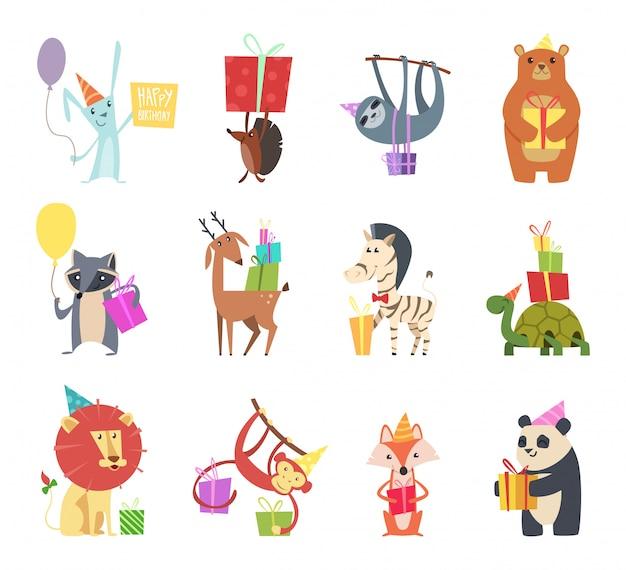 Animali di compleanno. animali felici del fumetto dei regali festivi della scimmia della zebra della zebra dell'orso dell'istrice della lepre di celebrazione felice di festa