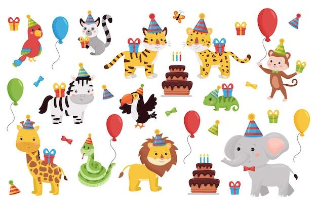 Set di animali di compleanno isolato su bianco