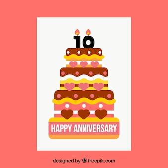 Carta di anniversario di compleanno con grande torta
