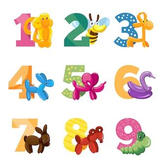 Numeri del fumetto anniversario di compleanno con animali palloncino carino per la festa di compleanno del bambino
