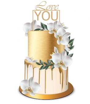 Torta dorata di anniversario e di compleanno con i fiori dell'orchidea