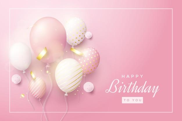 Sfondo di compleanno con palloncini 3d che riflettono la luce