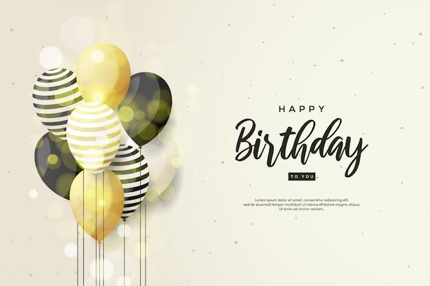 Sfondo di compleanno con scritta nera e palloncini 3d.