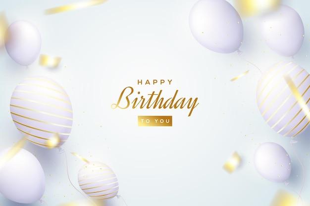 Sfondo di compleanno con palloncini 3d luminosi