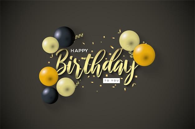 Sfondo di compleanno con scritte in oro e palloncini 3d.