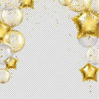Sfondo di compleanno con palloncini stella d'oro