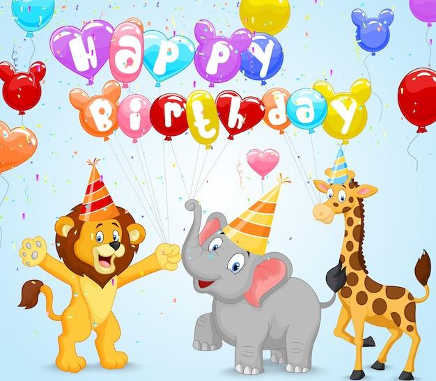 Sfondo di compleanno con animali felici