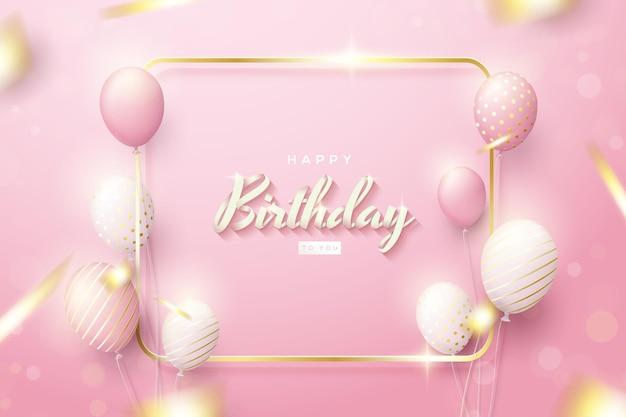 Sfondo di compleanno con palloncini rosa e contorno quadrato in oro