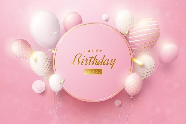 Sfondo di compleanno con bordo cerchio rosa