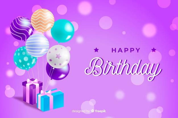 Sfondo di compleanno con palloncini realistici Vettore Premium