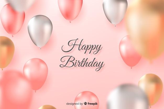 Sfondo di compleanno con palloncini progettati realistici Vettore Premium