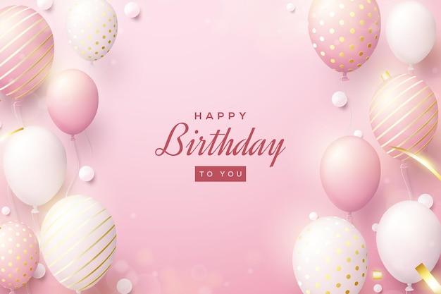Sfondo di compleanno con palloncini rosa realistici