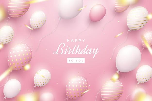 Sfondo di compleanno con palloncini rosa sparsi