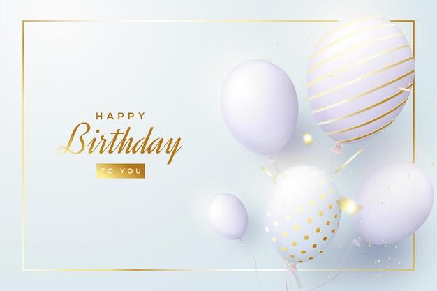 Sfondo di compleanno con alcuni palloncini 3d lucidi